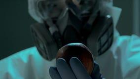 Zukunft der pflanzlicher Erzeugung Nahaufnahme des Berufsbiowissenschaftlers mit GMO-` s Apfel Er benutzt Spritze, um Blau einzus stock footage