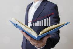 Zukunft des Finanzgeschäftskonzeptes, Geschäftsmann mit Finanzsymbolen Lizenzfreie Stockfotos