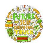 Zukunft des selbst-treibenden LKWs lizenzfreie abbildung