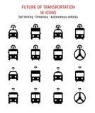 Zukunft des Transportes: Fahrender Selbst, verbundene, intelligente, autonome, driverless Fahrzeuge Lizenzfreies Stockfoto