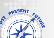 Zukunft gegen Vergangenheit und Gegenwarts-Konzept mit dem Kompass, der in Richtung zum Text zeigt stockbild