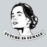 Zukunft ist weiblich Gezeichnete Illustration des Vektors Hand des hübschen Mädchens lizenzfreie abbildung