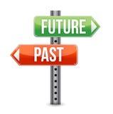 Zukunft- oder Vergangenheitszeichen Stockfoto