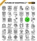 Zukunft von Einkaufskonzeptikonen vektor abbildung