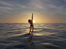Zukunftsroman-Leerzeichen, das auf dem Sonnenaufgang steigt Lizenzfreie Stockbilder