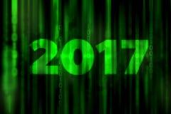 Zukunftsroman-Matrixhintergrund 2017 des Mosaiks abstrakter digitaler mit guten Rutsch ins Neue Jahr-Konzept Stockfotografie