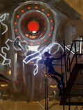Zukunftsroman-Roboterkampf Stockfoto
