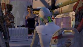 Zukunftsromane Cyborg-Szene mit Gefangenem Stock Abbildung
