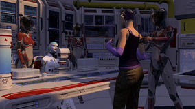 Zukunftsromane Cyborg-Szene mit Gefangenem Lizenzfreies Stockfoto