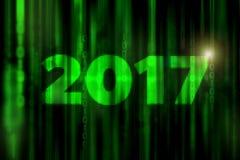 Zukunftsromanmatrix 2017 des Mosaiks mögen abstrakte digitale Hintergrund mit guten Rutsch ins Neue Jahr-Konzept stockfotografie
