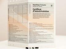 Zulassung- für Fahrzeugezertifikat certificat d ` Immatrikulation k lizenzfreie stockfotografie