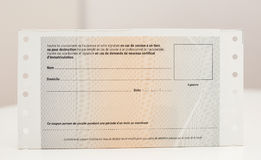 Zulassung- für Fahrzeugezertifikat certificat d ` Immatrikulation k lizenzfreies stockfoto