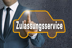 Zulassungsservice (in german authorization service) car touchscr Royalty Free Stock Image