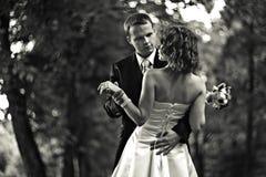 Zullen wij dansen? - De bruidegom brengt een bruid ertoe om in een park te dansen stock afbeelding