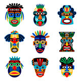 Zulu or aztec mask icons. Zulu or aztec mask vector icons. Mexican indian inca warrior masks isolated on white background Stock Photos
