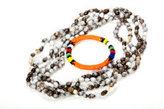Zulu Beaded Necklace with Bright Orange Armband Royalty Free Stock Images