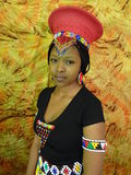 Zulu Bride Makoti. Zulu bride portrait posing in red headgear Stock Photos