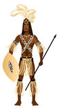 Zulu Carnival Costume. Vector Illustration of a man dressed in Zulu Carnival Halloween Costume Stock Photos