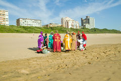 Zulu-Christian brightly colored ceremony on beach of Durban, South Africa Stock Image