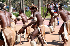 Zulu dance. South African zulu tribe men dressed in traditional clothes dancing on street during Easter holiday time Stock Images