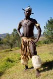 Zulu dancer. South African zulu tribe man dressed in traditional clothes dancing on wild mountain Stock Images