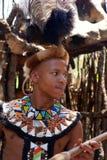 Zulu- krigareman, Sydafrika. Arkivbilder