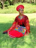 Zulu Maiden Bride. Zulu Bride wearing red attire Royalty Free Stock Photo
