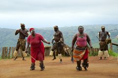 Zulu plemienny taniec w Południowa Afryka Obraz Royalty Free