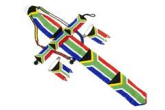 Zulu Threaded Beadwork Depicting die südafrikanische Flagge Stockbild