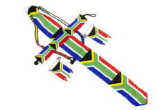 Zulu Threaded Beadwork Depicting the South African Flag Stock Image