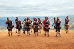 Zulu tribal dance. Zulu dancers performing tribal dance in the mountains Royalty Free Stock Image
