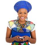 Zulu woman smart phone Royalty Free Stock Image