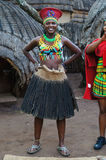 Zulu woman wearing handmade clothing  at Lesedi Cultural Village Royalty Free Stock Photography