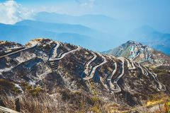 Zuluk hilltop the transit point of Silk Route. The road makes 32 hairpin turns. Located on rugged terrain of lower Himalaya in. Zuluk hilltop the transit point royalty free stock images