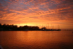 Zululand Sunrise. Sunrise over a yacht club in Zululand South Africa Royalty Free Stock Images