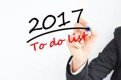 2017, zum der Liste zu tun Stockfotografie