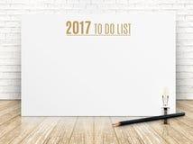 2017, zum des Listenjahrtextes auf Weißbuchplakat mit schwarzem penci zu tun Lizenzfreies Stockbild