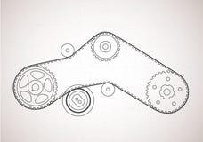 Zum Entwurf eines Riemenantriebs Technischer Hintergrund Lizenzfreies Stockfoto