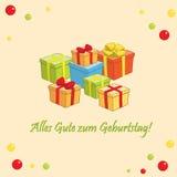 Zum Geburtstag de gute d'Alles - dirigez la carte de voeux avec des cadeaux Photographie stock libre de droits