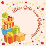 Zum Geburtstag del gute de Alles - vector el fondo con los regalos Imagen de archivo libre de regalías