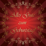 Zum Geburtstag do gute de Alles - cartão vermelho brilhante do vetor Imagem de Stock