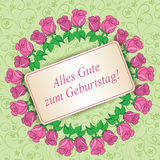 Zum Geburtstag do gute de Alles - feliz aniversario - luz - floral verde Imagem de Stock