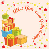 Zum Geburtstag do gute de Alles - vector o fundo com presentes Imagem de Stock Royalty Free
