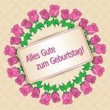 Zum Geburtstag - feliz cumpleaños del gute de Alles - backgr beige del vector Imagen de archivo