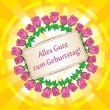 Zum Geburtstag - joyeux anniversaire de gute d'Alles - fond jaune illustration stock