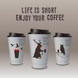 Zum Mitnehmen Kaffee in der Thermo Schale. Genießen Sie Ihren Kaffee. vektor abbildung
