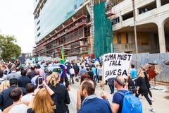 Zuma debe caerse marcha Foto de archivo libre de regalías