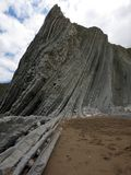 Zumaia beach with the longest set of continuous rock strata in the world royalty free stock images