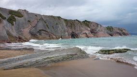 Zumaia beach, spain. Beautiful beach in bask country, where they filmed Dragonstone in Game of thrones Stock Photography