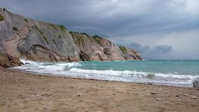 Zumaia beach, spain. Beautiful beach in bask country, where they filmed Dragonstone in Game of thrones Royalty Free Stock Images